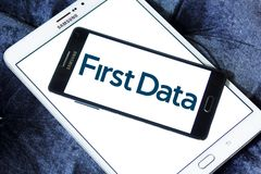 First Data Corporation logo. Logo of First Data Corporation on samsung mobile. First Data is a global leader in commerce enabling technology that helps simplify Stock Photography