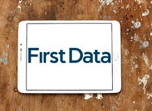 First Data Corporation logo. Logo of First Data Corporation on samsung tablet. First Data is a global leader in commerce enabling technology that helps simplify Stock Photos