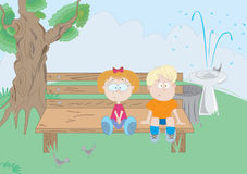 First date. Boy and girl on the bench Stock Photography
