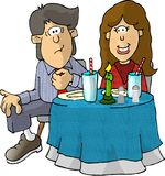 First Date. This illustration that I created depicts a boy and girl seated at a dinner table Stock Photos