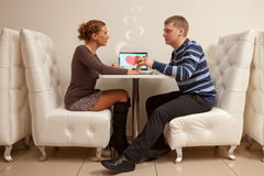 First date in cafe Royalty Free Stock Photo