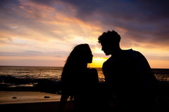 First date of a couple. At background silhouette Stock Photo