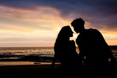 First date of a couple. At background silhouette Royalty Free Stock Images