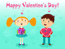 First date. Girl and boy with gifts. Valentines day. Vector Stock Photos
