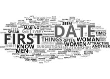 First Date Magic For Women Word Cloud Concept. First Date Magic For Women Text Background Word Cloud Concept Royalty Free Stock Photos