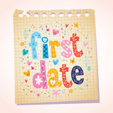First date notepad paper message reminder. First date note pad paper message Royalty Free Stock Images