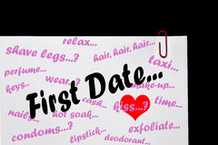First Date - Relationships. Sign for First Date - Relationships - From Ladies Point of View royalty free stock photo