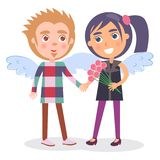 First Date Teenage Couple in Angel Wings, Boy Girl. First date teenage couple in angel wings, boy presents flowers to girl, vector illustration Valentine s Day Royalty Free Stock Photo