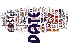 First Date Tips And Tricks Word Cloud Concept. First Date Tips And Tricks Text Background Word Cloud Concept Royalty Free Stock Photos
