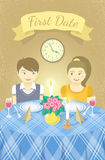 First date. Vector childish illustration of a happy boy and a girl in love with each other on a romantic date in a restaurant at the table. Valentine's Day card Stock Photo