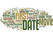 First Dates Skip The Movie And Popcorn Text Background  Word Cloud Concept Stock Photography