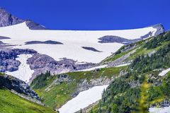 First Day Climbing Camp Muir Mount Rainier National Park Washing royalty free stock photography