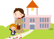 First day go to school. A cute girl first day go to school Royalty Free Stock Image