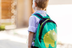 First day of kindergarten. Child leaving home to his first day of kindergarten Royalty Free Stock Images
