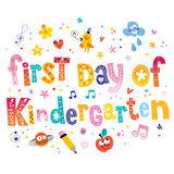 First day of kindergarten. Unique lettering kids design Stock Photography