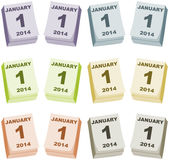 The First Day of the New Year 2014. Illustration of a table calendar showing January First 2014 Stock Images