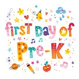First day of pre K. Unique lettering kids design Royalty Free Stock Images