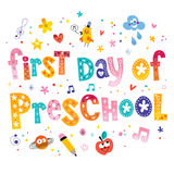 First day of preschool. Unique lettering kids design Stock Image