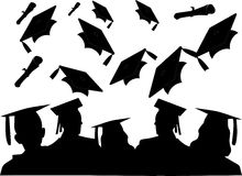 First day of the rest of their lives.. The cheer of the graduating class, as they toss their hats Stock Images