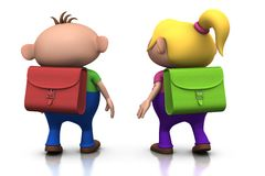 First day of school. Cute cartoony boy and girl with schoolbags on their back walking away - back to school concept - 3d rendering/illustration Stock Photography