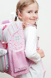 First day at school. Little girl first day at school Royalty Free Stock Photos