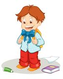 First day of school. Colored illustration of a happy child that starts the first day of school Stock Photo