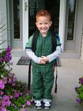 First Day of School. Young boy on his first day of school with his backpack Stock Images