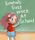 First day of school. Cute little girle and her First day of school Royalty Free Stock Photos