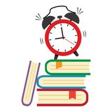 First day of school, Back to school. Alarm clock and pile of books. Vector illustration stock illustration