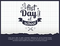 First Day at School Sticker  on White. First day at school black-and-white sticker with text. Vector of laboratory tube with liquid and crossed pen and pencil on Royalty Free Stock Photography