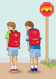 First Day of School. Bold and colorful vectors illustration of two young brothers waiting for the school bus at the end of their driveway on the first day of Stock Image