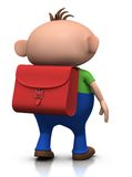 First day of school - boy walking. Cute boy with a satchel on his back walking away - 3d rendering/illustration Stock Photos