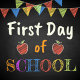 First Day of School. Chalk text on blackboard Stock Photo