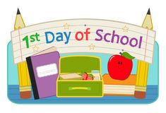 """First Day School clip-art. Back to school clip-art with lunchbox, notebook, apple and banner that says """"First day of school"""". Eps10 Stock Image"""