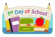 First Day School clip-art vector illustration