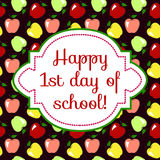 First Day of School. Greeting card with apples background Stock Images
