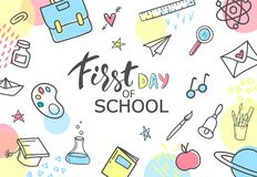 First day of school. Hand drawn school supplies on white background.Vector illustration.  Royalty Free Stock Image