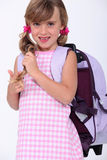 First day of school. Little girl's first day of school royalty free stock photos