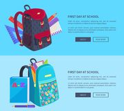 First Day at School Poster with Schoolbag and Book. First day at school poster with schoolbags and notebook, rulers and pen with pencil stationery equipment Stock Image