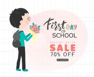 First day of school sale  background with schoolchild. Vector illustration for website , posters, email and newsletter desig. Ns, ads, coupons, promotional Royalty Free Stock Photo