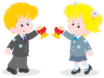First day of school. Schoolgirl and schoolboy ringing the bells to the beginning of school year royalty free illustration