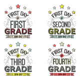 First Day of School Signs.. First Day of School Signs.These signs can be framed, taped to a popsicle stick, or just held by the child for the photo. Vector Royalty Free Stock Photography