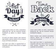 First Day at School Sticker  on White. First day at school time come back black-and-white sticker with text. Vector of laboratory tube with liquid and crossed Stock Photography