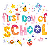 First day of school. Unique lettering kids design Stock Photography