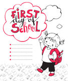 First day of school. Vector illustration on the school theme. The little girl and the phrase First day of school Stock Images