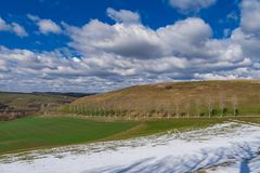 First day of spring landscape. Snow trees blue sky and puffy clouds royalty free stock photo