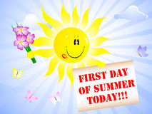 First Day of Summer. Sun with lip print and placard Royalty Free Stock Photo