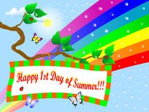 First Day of Summer. Billboard on branch and rainbow Royalty Free Stock Images