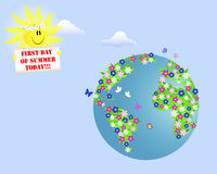 First Day of Summer. Planet of flowers and a smiling sun with a placard. Vector illustration Stock Images