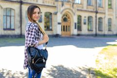 It is the first day at university for young but confident and sm royalty free stock photography